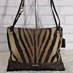 Coach Brown Zebra Convertible Crossbody Bag